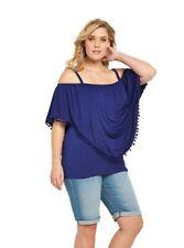 Tunika Gr.44 schulterfrei Damen blau Boho Top Shirt Longtop Bommel Carmenshirt