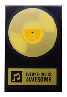 Lego goldene Schallplatte Everything Is Awesome schwarze Fliese 2x3 26603pb029