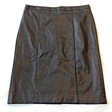 Calvin Klein Pleather Fitted Skirt Knee Length Size 10 Black Pencil Back Slit M