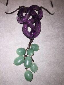 LALIQUE Serpent Snake Violet Crystal W Green Aventurine Tassel NIB Ret $905