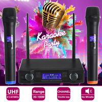 Professional UHF Wireless Handheld Microphone Karaoke Mic System LCD Display .@