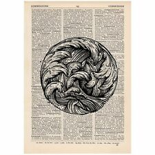 Circle Of Waves Dictionary Print Vintage, ,Nautical, Ocean, Art, Unique,
