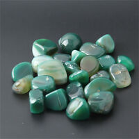 200g Tumbled Stone Green Agate Quartz Crystal Healing Reiki Mineral Free Pouch
