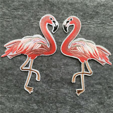 1 Pair Flamingo Embroidered Sew On Iron Patch Badge Dress Fabric Applique Crafts