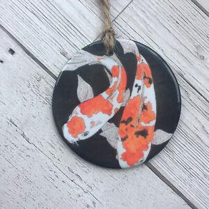 Koi Carp Hanging Decoration Ceramic Bauble Gift Japanese Fish Good Luck Orange