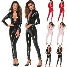 Women's Lingerie Catsuit Shiny PVC Leather Bodysuit Clubwear Costume Jumpsuit