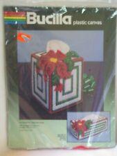 Bucilla Christmas Plastic Canvas 3D 3 D Poinsettia Tissue Box Cover NEW 61042