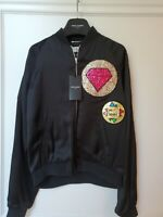 Saint Laurent Glitter Patch Men's Black Satin Bomber Jacket, Sz 50/ US 40; NWT