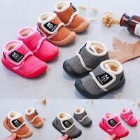 Toddler Kids Infant Baby Girls Boys Cartoon Solid Winter Warm Sport Causal Shoes