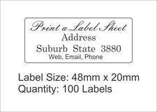 100 Personalised Return Address Labels Custom Stickers 48mm x 20mm Laser Printed