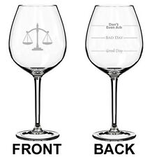 Jumbo 20oz Wine Glass 2 Sided Lawyer Law Attorney Scales Of Justice Paralegal