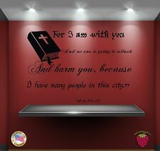 Wall Vinyl Stickers Religion Bible Quote Verse Acts 18:10: For I am zz015
