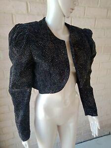 Vintage Cropped Jacket 10 12 Black Sparkling Disco Retro Party Glam 70s?