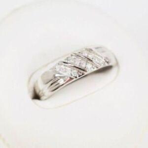 14K White Gold Over Round Cut 1.40 CT Diamond Mens Engagement Wedding Ring Band