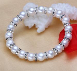 8mm Genuine Natural White shell Pearl Crystal Bracelet Bangle 7.5''AAA