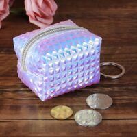 Women Hologram Mini Coin Change Purse Wallet Holographic Laser Zipper Small Bag