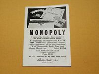 VINTAGE PARKER BROTHERS GAMES ADVERTISEMENT FOR MONOPOLY CAMELOT SORRY CROWHUNT