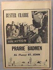 movie broadside 1946 BUSTER CRABBE in PRAIRIE BADMEN
