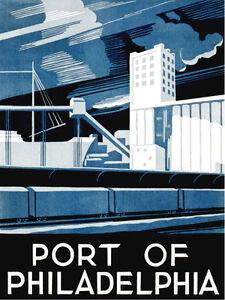 "18x24""Decoration Poster.Room Interior art design.Philadelphia Port.Blue.7495"