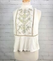 FREE PEOPLE Top Boho Peasant Lace Embroidery Mock Neck Peplum Size M