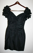 NEW Womens ZUM ZUM VINTAGE 80's Solid Black Puff Sleeves Party Dress Made In USA