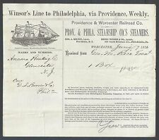 1876 Providence & Worcester Railroad Co Bill Of Lading Delivers Goods See Info