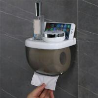 Wall Mounted Toilet Paper Box Case Shelf Dispenser Holder Waterproof Bathroom