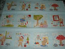 VERY RARE Kinkame Japan Toy Poodle Fabric Collection-Aqua-4 Season Bears-1/2 Yd-