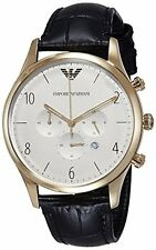 Emporio Armani Men's AR1892 Classic Gold-Tone White Dial Black Leather Watch