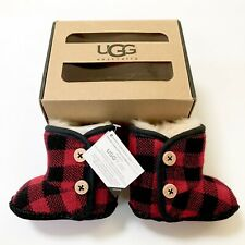 NIB UGG Australia Purl Pine Button Boot Baby & Toddler 0-1 0-6 months Red Plaid
