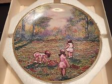Picking Flowers by Dominic John Mingolla Collector's Plate 1977 Gold Rim -In Box