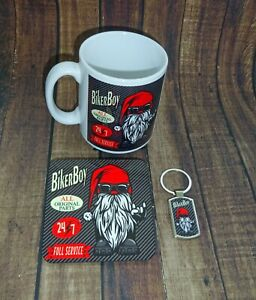 Biker Boy Gift Set Mug - Coaster - Key Ring - Gnome - Gonk Christmas Gift Set CF