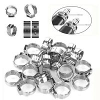 AU_ 180Pcs 5.8-21mm Stainless Steel Single Ear Stepless Hose Clamp Fastener Tool