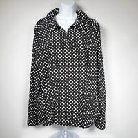 Laura Ashley Polka Dot Full Zip Jacket Womens L Black White Pockets Lightweight
