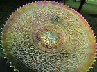 Northwood HEARTS & FLOWERS ANTIQUE CARNIVAL GLASS PLATE~GREEN~RARE & BEAUTIFUL!