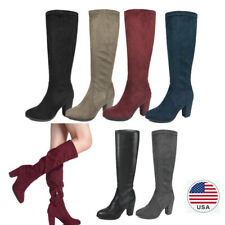 US Womens Knee High Boots Slouchy Chunky Heel Side Zip and Up Stretch Size 5-11