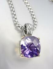 Amethyst Cz Crystal Pendant Necklace Designer Style Silver Gold Balinese Purple