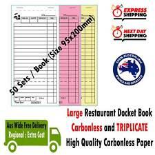 100 LARGE Docket Books Restaurant Order Books CARBONLESS & TRIPLICATE 95x200