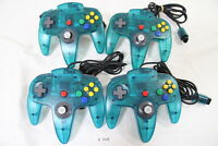 Fully Tested! Lot of 4 Original Nintendo 64 Controller Pad Ice Blue Tight Stick
