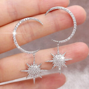 Gorgeous 925 Silver Gold Moon Star White Sapphire Party Wedding Earrings Jewelry