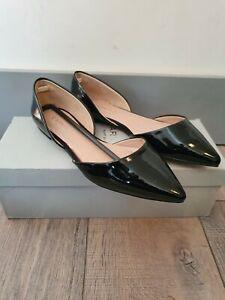 CARVELA KURT GEIGER Faux Patent Leather Pointed Toe Ballet Shoes Size EU36