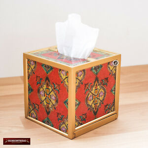 Peruvian Red Tissue Box cover Square, Painting on glass tissue box wedding Gifts