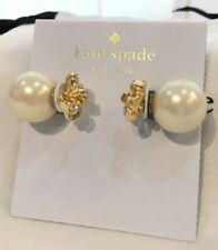 New Kate Spade it's a tie bow reversible earrings clear gold pearl+dust bag