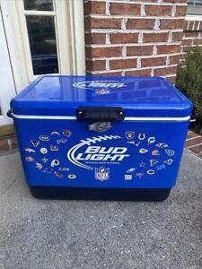 NFL Bud Light Steel Belted Cooler With Bottle Opener, Koozie, Key Chain & Towel