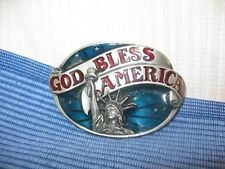 1984 God Bless America ~ Enamel & Pewter Tone belt buckle ~ Made In Usa ~ 112F7