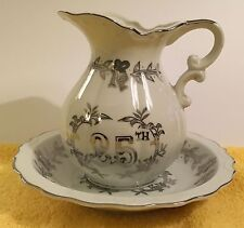 "Lefton 2 Piece Set Pitcher Bowl 25th Anniversary Silver Wedding Bells 5 1/2"" T."