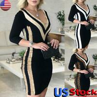 Women V-Neck Bodycon Mini Dresses Ladies Sequin Evening Cocktail Party Ball Gown