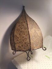 Vintage Antique Leather Wall Sconce Shade With Painted Flowers And Iron Frame