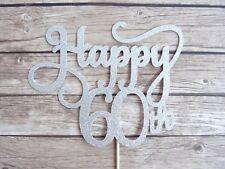 Happy 60th Cake Topper - Silver Glitter Sixty birthday topper, 60 cake decor