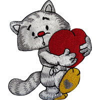 Cat Red Love Heart Iron On Patch Sew On Embroidery Applique Embroidered Badge